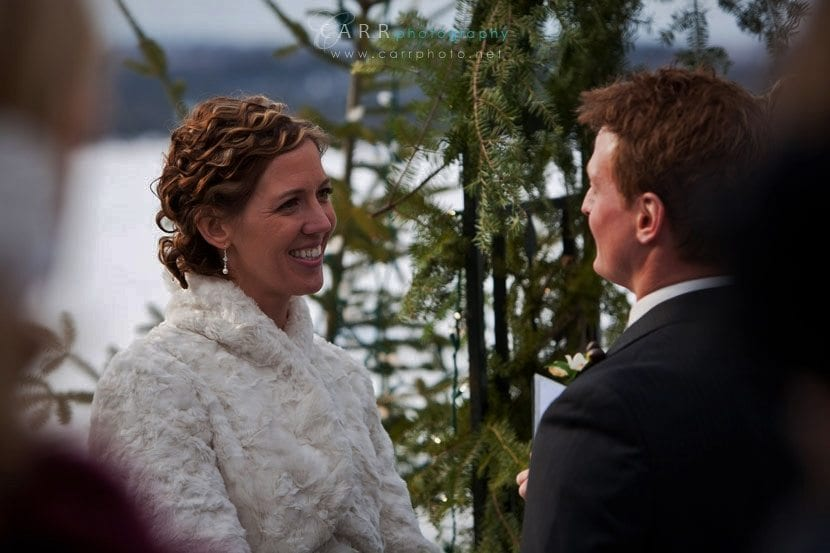 Gunflint Lodge Wedding package Bride and groom outside